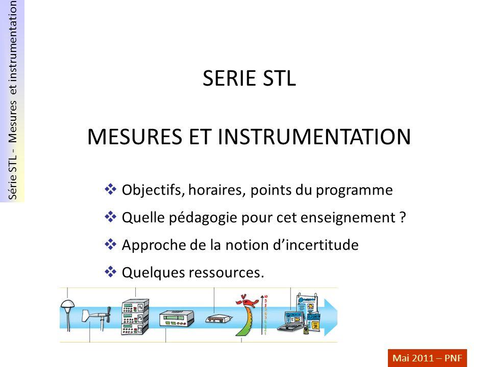 Série STL - Mesures et instrumentation Mai 2011 – PNF SERIE STL MESURES ET INSTRUMENTATION Objectifs, horaires, points du programme Quelle pédagogie p