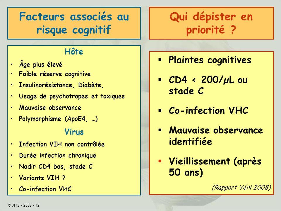 © JHG - 2009 - 12 Facteurs associés au risque cognitif Hôte Âge plus élevé Faible réserve cognitive Insulinorésistance, Diabète, Usage de psychotropes