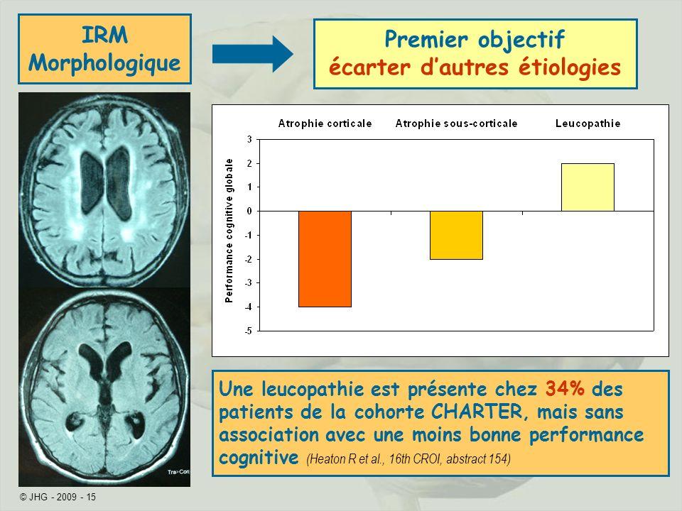 © JHG - 2009 - 15 IRM Morphologique Premier objectif écarter dautres étiologies Une leucopathie est présente chez 34% des patients de la cohorte CHARTER, mais sans association avec une moins bonne performance cognitive (Heaton R et al., 16th CROI, abstract 154)
