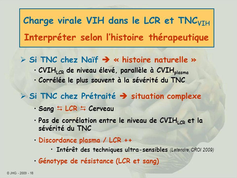 © JHG - 2009 - 18 Charge virale VIH dans le LCR et TNC VIH Interpréter selon lhistoire thérapeutique Si TNC chez Naïf « histoire naturelle » CVIH LCR de niveau élevé, parallèle à CVIH plasma Corrélée le plus souvent à la sévérité du TNC Si TNC chez Prétraité situation complexe Sang LCR Cerveau Pas de corrélation entre le niveau de CVIH LCR et la sévérité du TNC Discordance plasma / LCR ++ Intérêt des techniques ultra-sensibles (Letendre, CROI 2009) Génotype de résistance (LCR et sang)