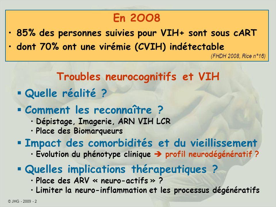 © JHG - 2009 - 23 (daprès Dulioust A et al., 16th CROI, abstract 459) N (% hommes)47 (77%) Age à lévaluation*65 a (61-70) Nadir CD4 (/µL)*203 (82-270) Sous cART VIH < 40 copies/mL Durée indétectabilité* 46/47 100% 45 m (21-67) Derniers CD4(/µL)*487 (421-651) Profil Cognitif Sous Cortical Néocortical Mixte N=21 12 (57%) 3 (14%) 6 (29%) *Médiane (IQR), CN = cognition normale Neurosigma: après 60 ans, prévalence élévée des TNC VIH malgré lefficacité du cART 36%