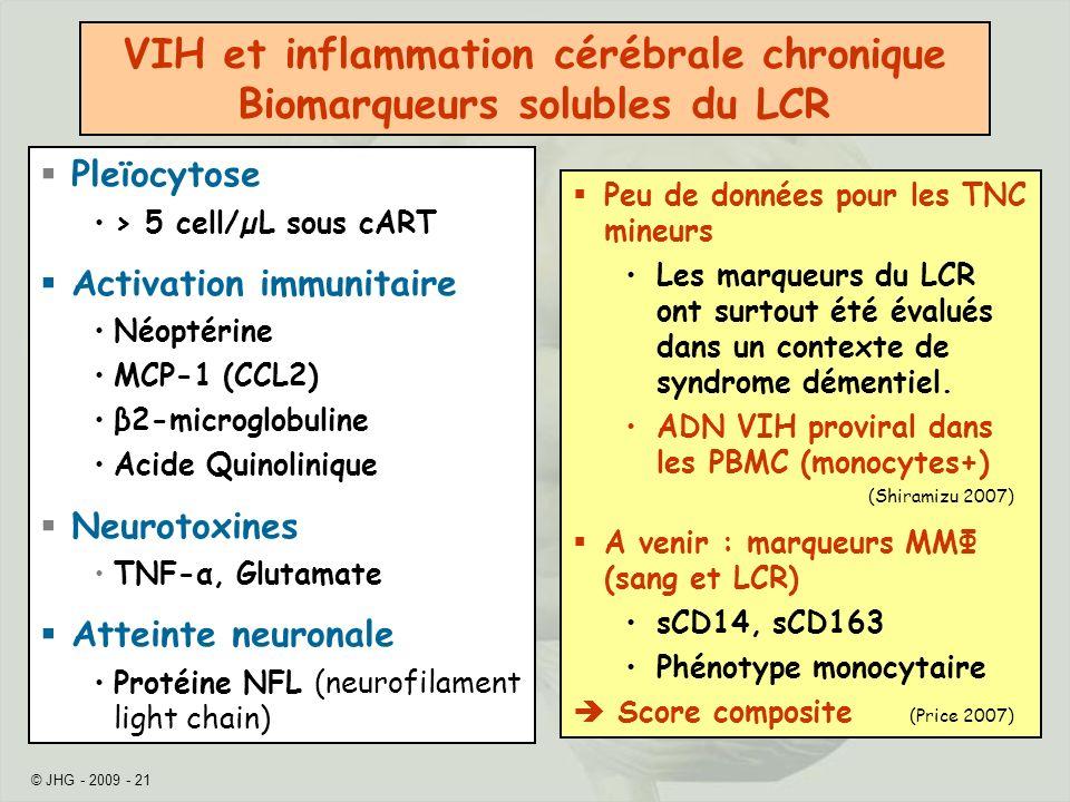 © JHG - 2009 - 21 Peu de données pour les TNC mineurs Les marqueurs du LCR ont surtout été évalués dans un contexte de syndrome démentiel.