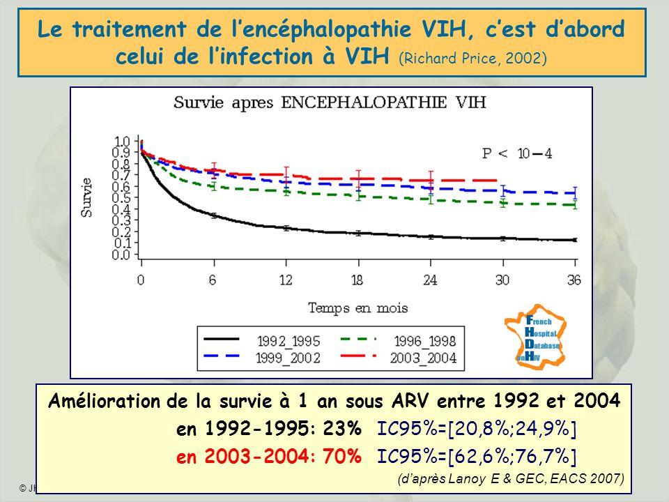 © JHG - 2009 - 28 Le traitement de lencéphalopathie VIH, cest dabord celui de linfection à VIH (Richard Price, 2002) Amélioration de la survie à 1 an sous ARV entre 1992 et 2004 en 1992-1995: 23% IC95%=[20,8%;24,9%] en 2003-2004: 70% IC95%=[62,6%;76,7%] (daprès Lanoy E & GEC, EACS 2007)