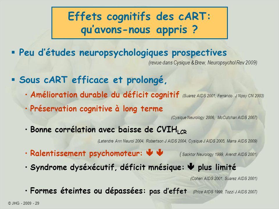 © JHG - 2009 - 29 Peu détudes neuropsychologiques prospectives (revue dans Cysique & Brew, Neuropsychol Rev 2009) Sous cART efficace et prolongé, Amél