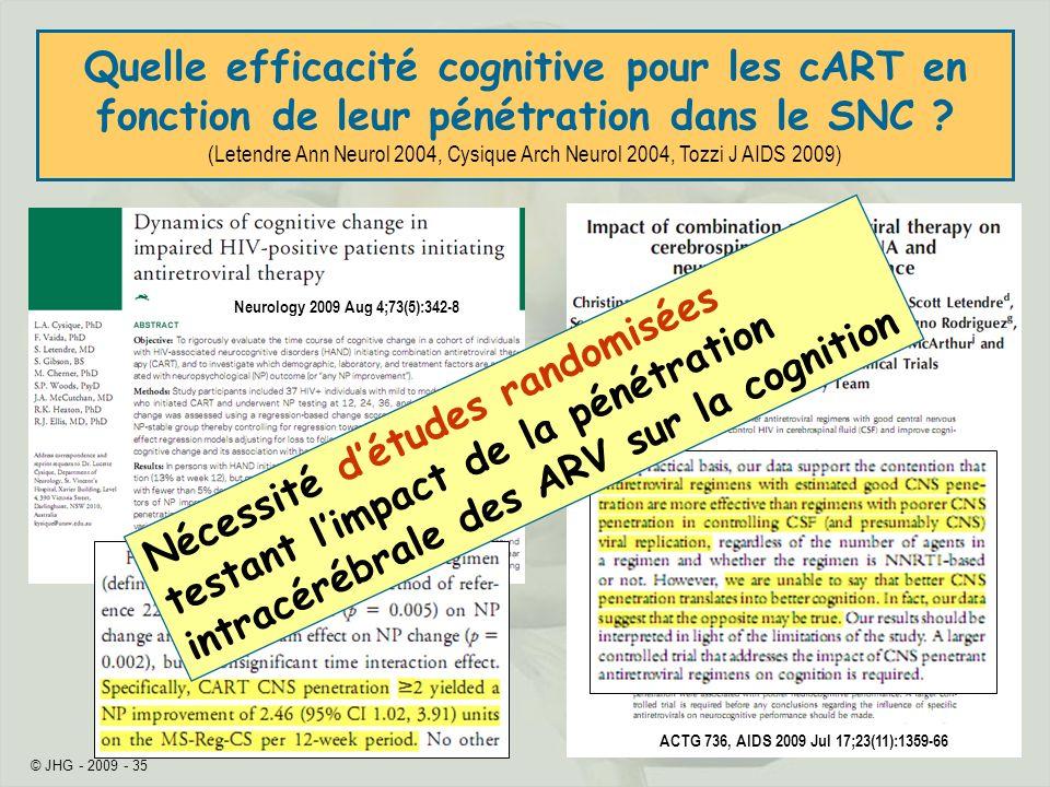 © JHG - 2009 - 35 Neurology 2009 Aug 4;73(5):342-8 ACTG 736, AIDS 2009 Jul 17;23(11):1359-66 Quelle efficacité cognitive pour les cART en fonction de leur pénétration dans le SNC .