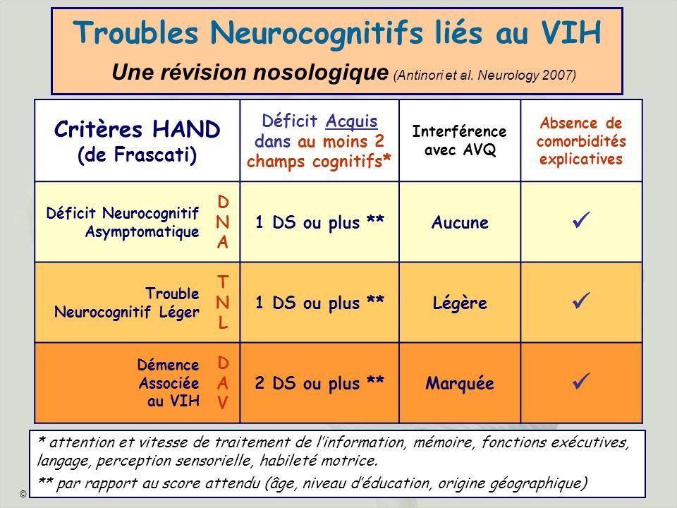© JHG - 2009 - 4 Troubles Neurocognitifs liés au VIH Une révision nosologique (Antinori et al. Neurology 2007) Critères HAND (de Frascati) Déficit Acq