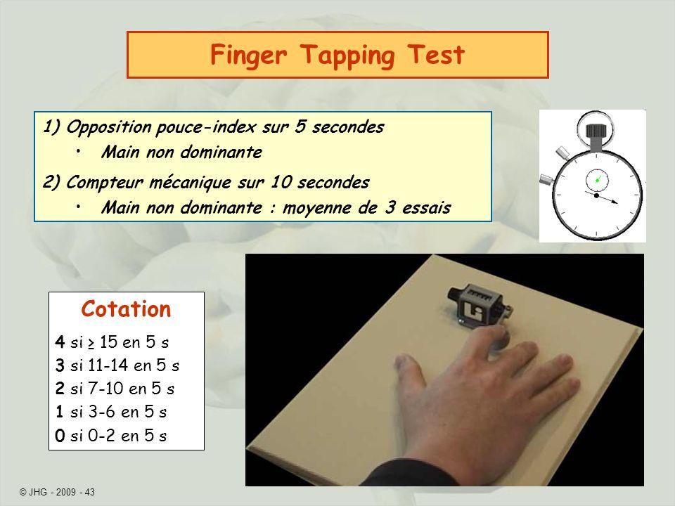 © JHG - 2009 - 43 1) Opposition pouce-index sur 5 secondes Main non dominante 2) Compteur mécanique sur 10 secondes Main non dominante : moyenne de 3 essais Finger Tapping Test Cotation 4 si 15 en 5 s 3 si 11-14 en 5 s 2 si 7-10 en 5 s 1 si 3-6 en 5 s 0 si 0-2 en 5 s