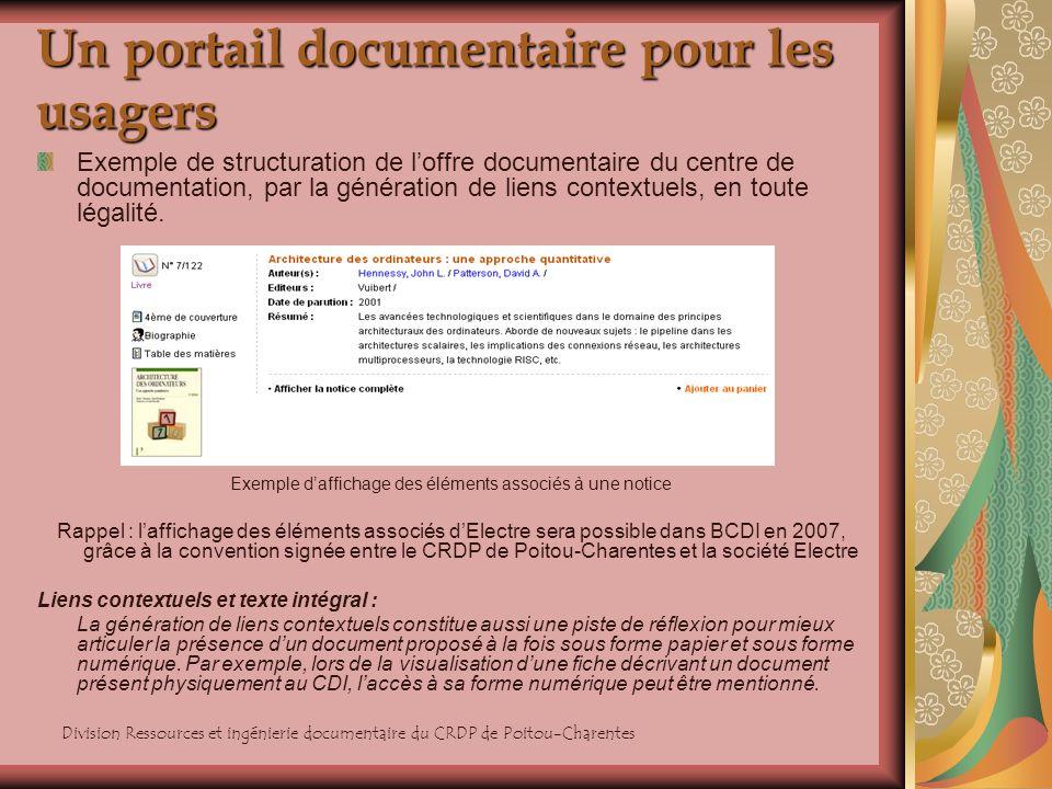 Division Ressources et ingénierie documentaire du CRDP de Poitou-Charentes Un portail documentaire pour les usagers Exemple de structuration de loffre