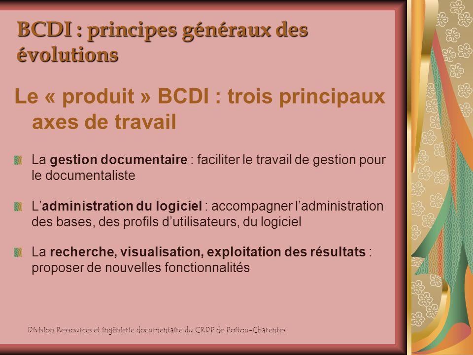 Division Ressources et ingénierie documentaire du CRDP de Poitou-Charentes BCDI : principes généraux des évolutions Le « produit » BCDI : trois princi