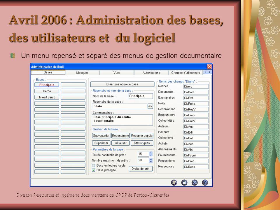 Division Ressources et ingénierie documentaire du CRDP de Poitou-Charentes Avril 2006 : Administration des bases, des utilisateurs et du logiciel Un m