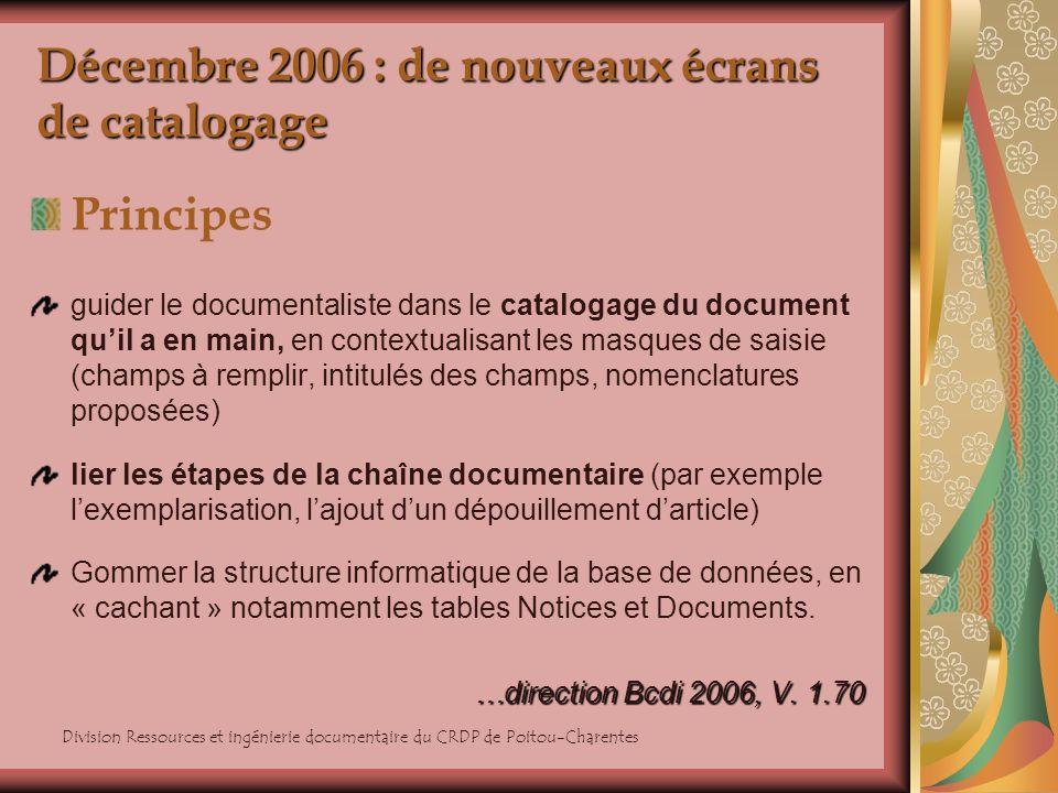 Division Ressources et ingénierie documentaire du CRDP de Poitou-Charentes Décembre 2006 : de nouveaux écrans de catalogage Principes guider le docume