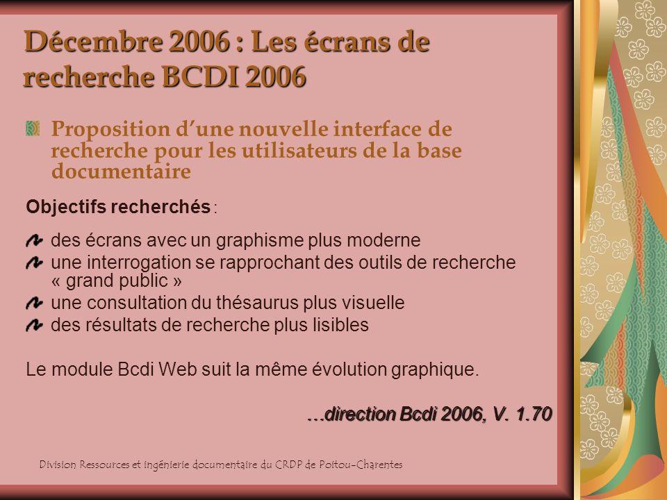 Division Ressources et ingénierie documentaire du CRDP de Poitou-Charentes Décembre 2006 : Les écrans de recherche BCDI 2006 Proposition dune nouvelle