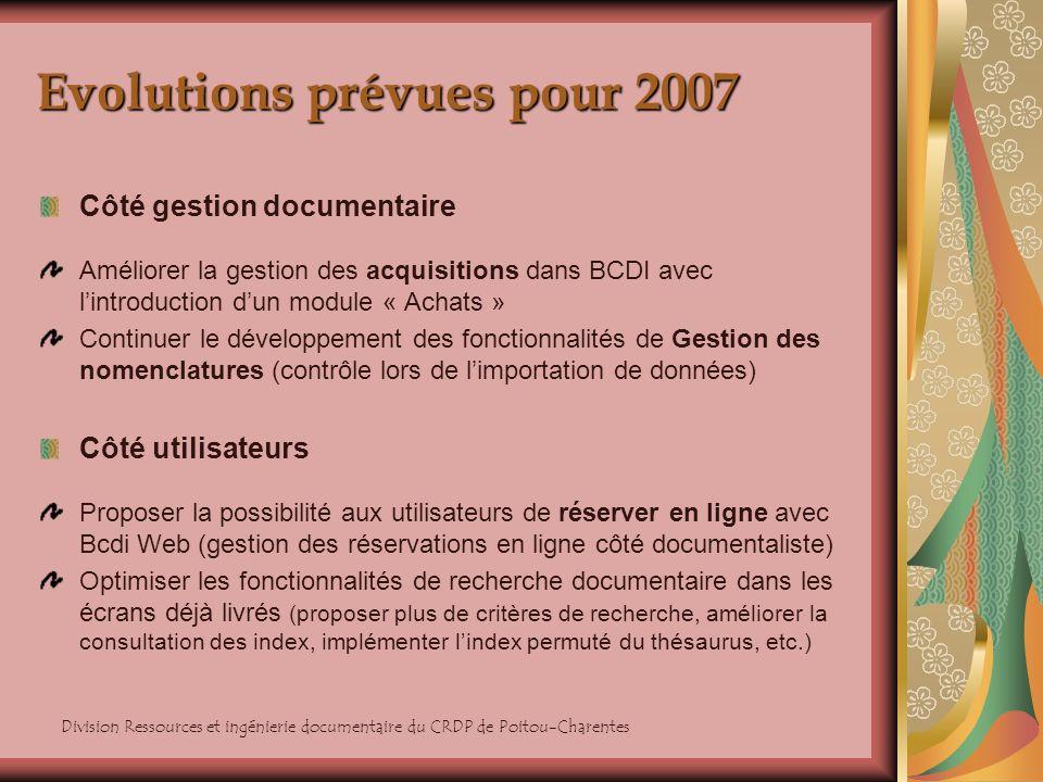 Division Ressources et ingénierie documentaire du CRDP de Poitou-Charentes Evolutions prévues pour 2007 La visualisation des résultats de recherche : affichage déléments associés afin denrichir les références bibliographiques du catalogue Affichage des pictogrammes du kiosque ONISEP : le CRDP de Poitou-Charentes et lONISEP éditent un service « Notices Kiosque ONISEP » qui permet de récupérer des notices décrivant des documents figurant au Kiosque ONISEP.