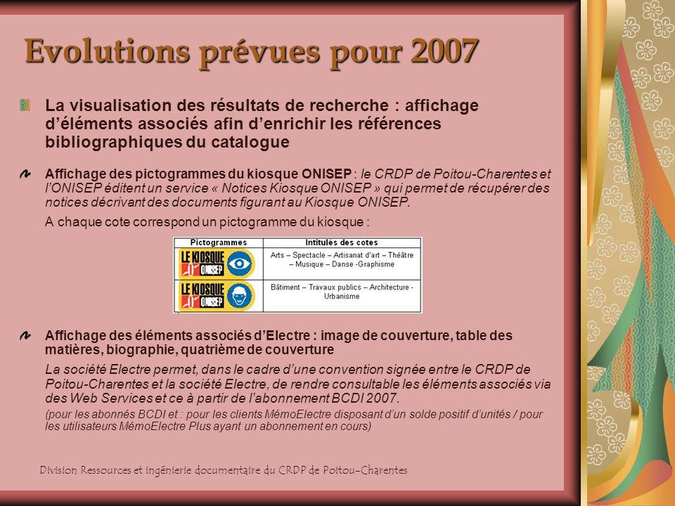 Division Ressources et ingénierie documentaire du CRDP de Poitou-Charentes Evolutions prévues pour 2007 La visualisation des résultats de recherche :