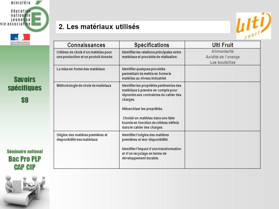 Séminaire national Bac Pro PLP CAP CIP Savoirs spécifiques S9 2. Les matériaux utilisés ConnaissancesSpécificationsUlti Fruit Critères de choix dun ma