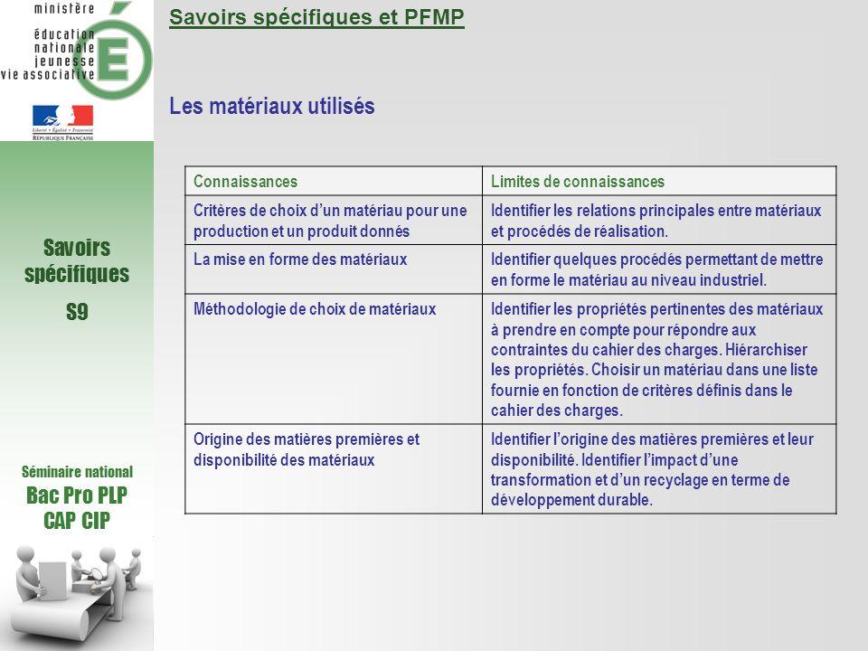 Séminaire national Bac Pro PLP CAP CIP Savoirs spécifiques S9 Savoirs spécifiques et PFMP Les matériaux utilisés ConnaissancesLimites de connaissances