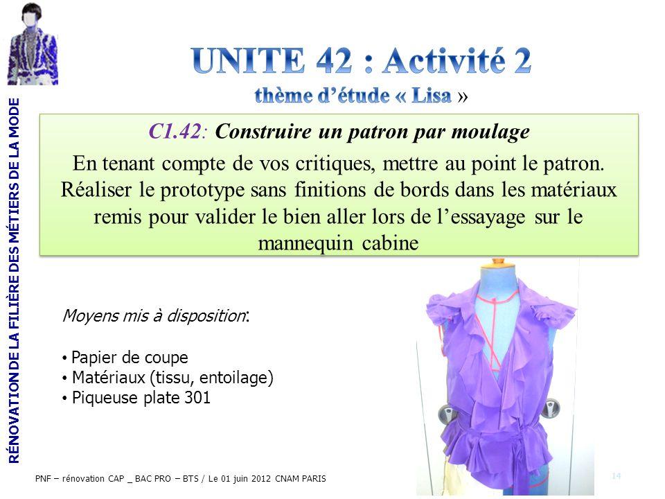 RÉNOVATION DE LA FILIÈRE DES MÉTIERS DE LA MODE PNF – rénovation CAP _ BAC PRO – BTS / Le 01 juin 2012 CNAM PARIS C1.42: Construire un patron par moul