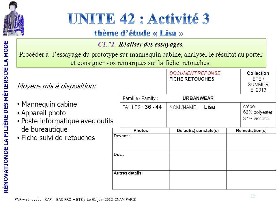 RÉNOVATION DE LA FILIÈRE DES MÉTIERS DE LA MODE PNF – rénovation CAP _ BAC PRO – BTS / Le 01 juin 2012 CNAM PARIS C1.71: Réaliser des essayages. Procé