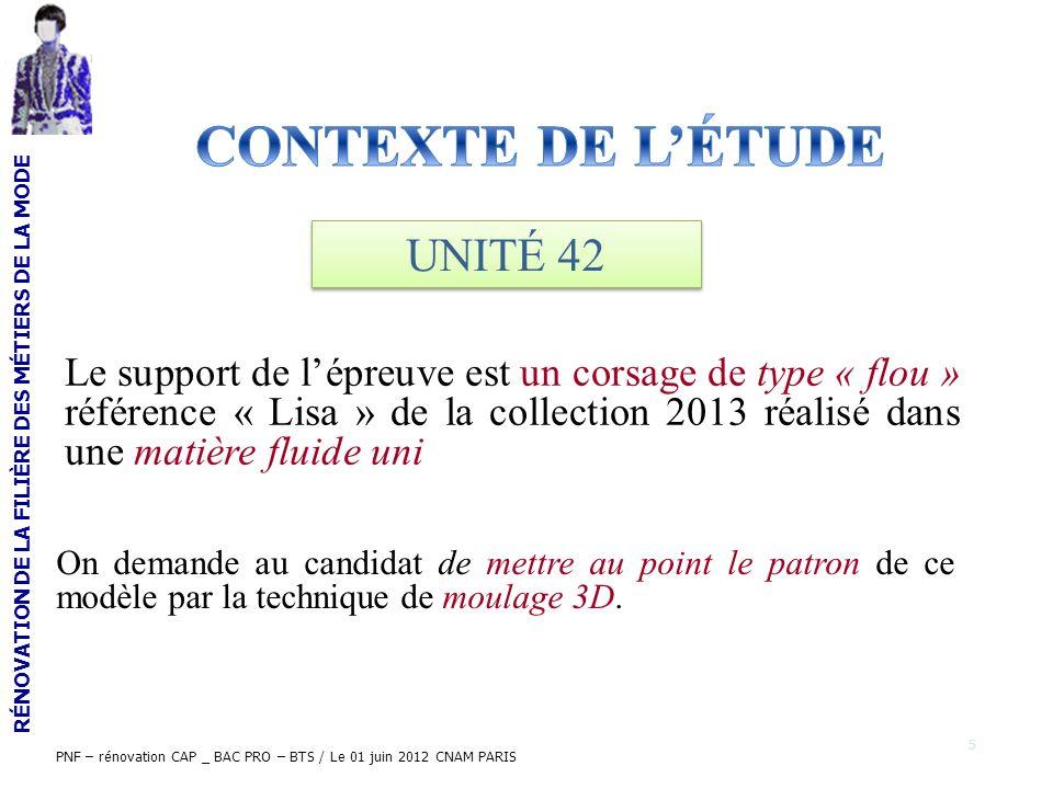 RÉNOVATION DE LA FILIÈRE DES MÉTIERS DE LA MODE PNF – rénovation CAP _ BAC PRO – BTS / Le 01 juin 2012 CNAM PARIS Le support de lépreuve est un corsag
