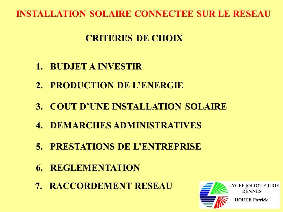 INSTALLATION SOLAIRE CONNECTEE SUR LE RESEAU 1.BUDGET A INVESTIR Cest le client qui définit la somme quil veut investir dans cette installation solaire.