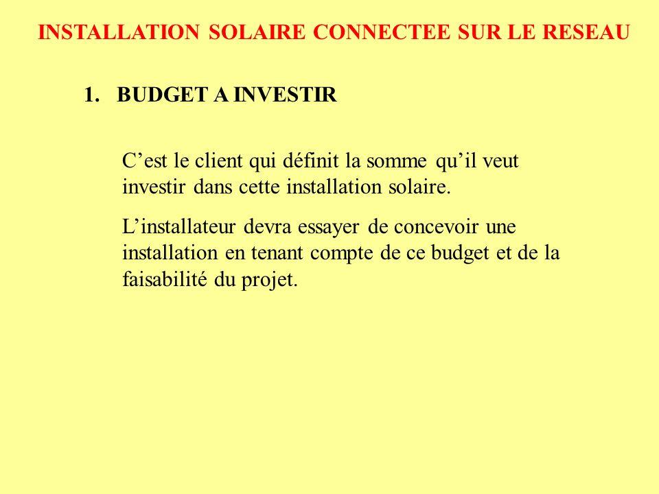 INSTALLATION SOLAIRE CONNECTEE SUR LE RESEAU 2.PRODUCTION DE LENERGIE 2.1.