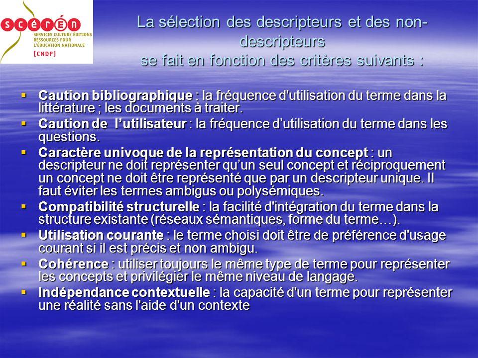 La sélection des descripteurs et des non- descripteurs se fait en fonction des critères suivants : Caution bibliographique : la fréquence d utilisation du terme dans la littérature ; les documents à traiter.