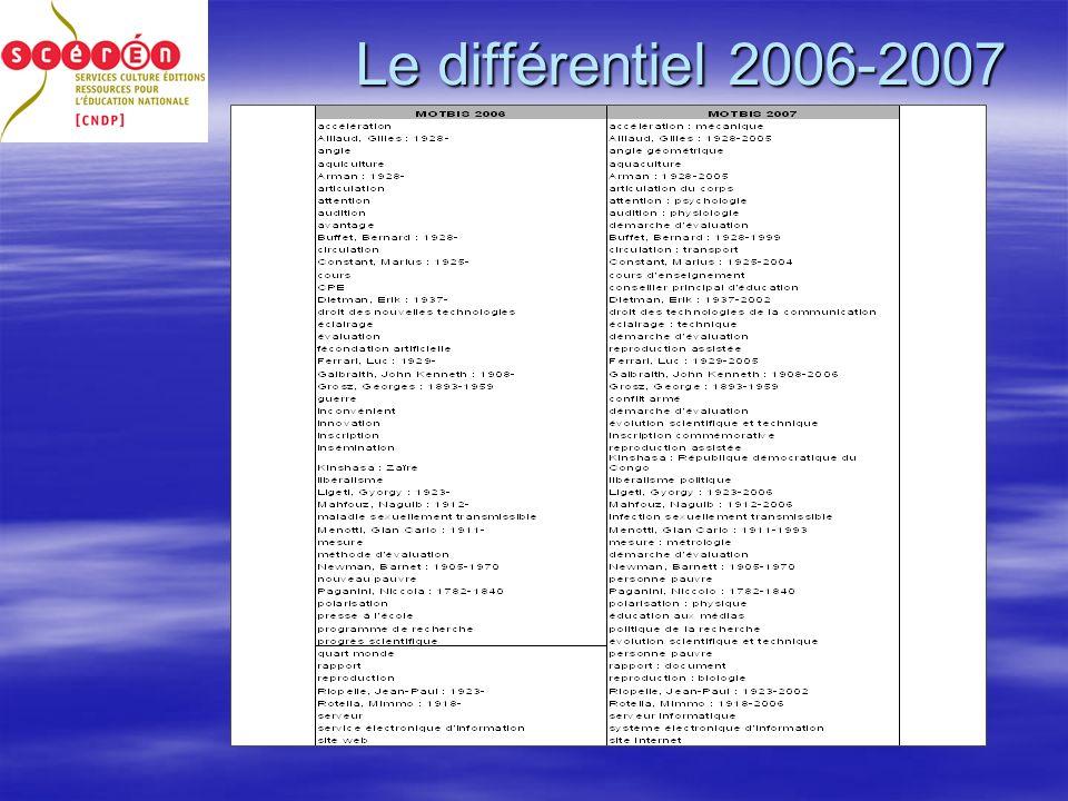 Le différentiel 2006-2007