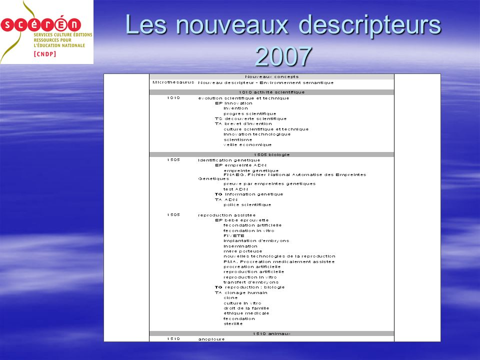 Les nouveaux descripteurs 2007