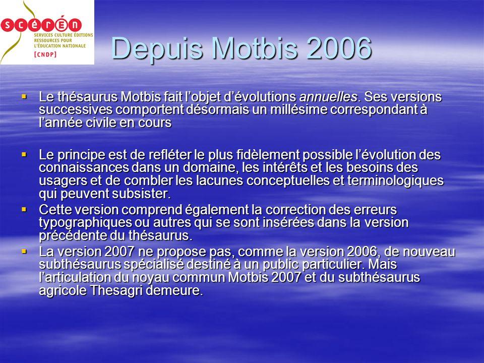 Depuis Motbis 2006 Le thésaurus Motbis fait lobjet dévolutions annuelles.