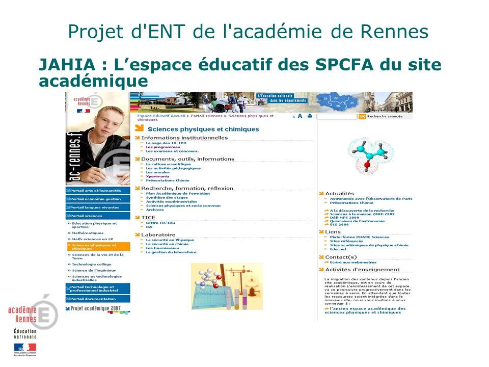Projet d ENT de l académie de Rennes JAHIA : Lespace éducatif des SPCFA du site académique