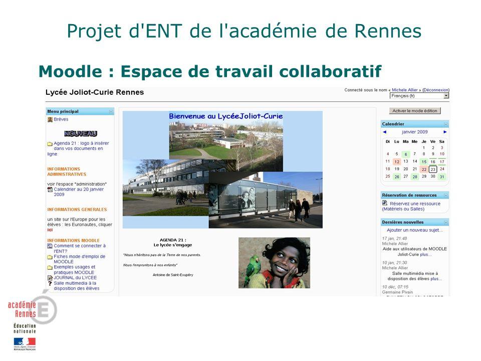 Projet d ENT de l académie de Rennes Moodle : Espace de travail collaboratif