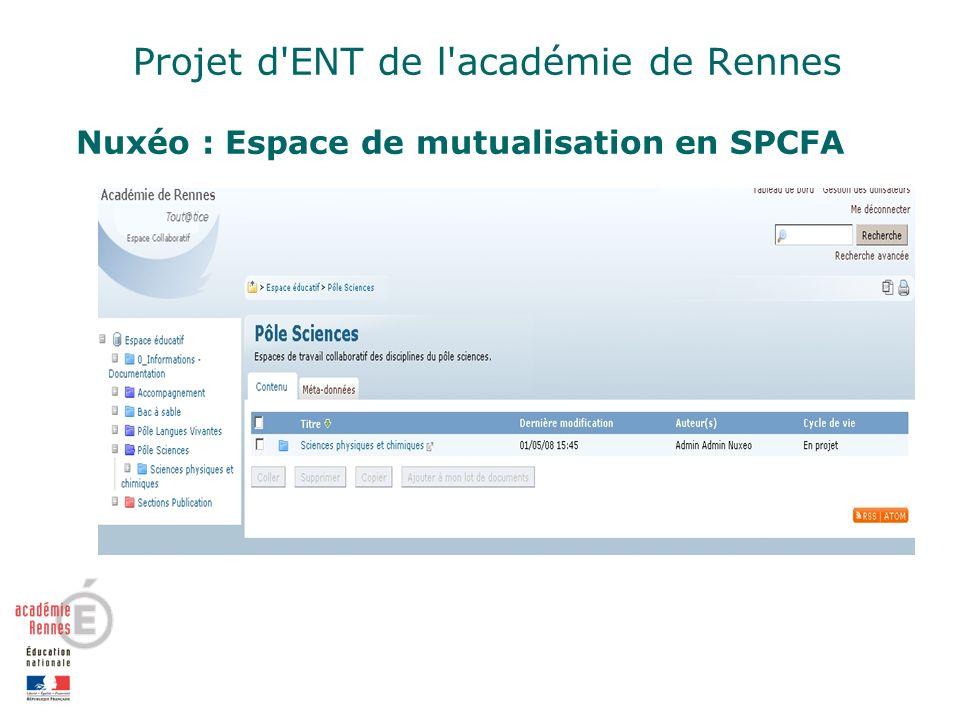 Projet d ENT de l académie de Rennes Nuxéo : Espace de mutualisation en SPCFA