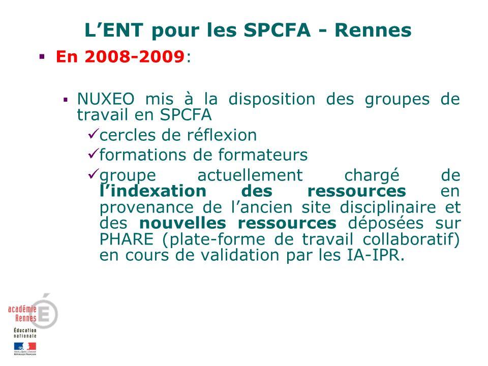 LENT pour les SPCFA - Rennes En 2008-2009: NUXEO mis à la disposition des groupes de travail en SPCFA cercles de réflexion formations de formateurs groupe actuellement chargé de lindexation des ressources en provenance de lancien site disciplinaire et des nouvelles ressources déposées sur PHARE (plate-forme de travail collaboratif) en cours de validation par les IA-IPR.