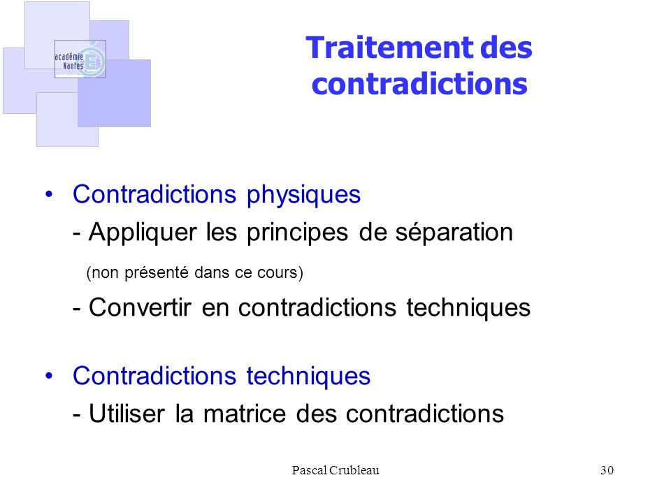 Pascal Crubleau30 Traitement des contradictions Contradictions physiques - Appliquer les principes de séparation (non présenté dans ce cours) - Convertir en contradictions techniques Contradictions techniques - Utiliser la matrice des contradictions