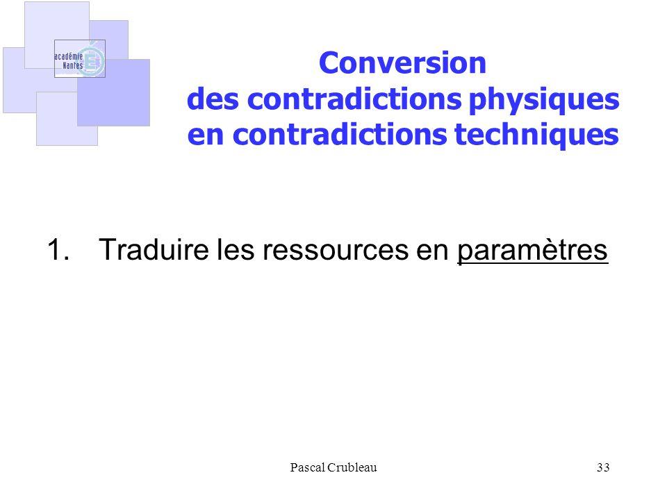 Pascal Crubleau33 1. Traduire les ressources en paramètres Conversion des contradictions physiques en contradictions techniques