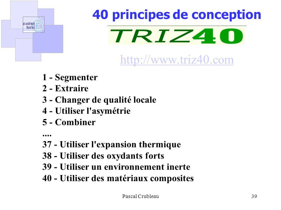 Pascal Crubleau39 40 principes de conception http://www.triz40.com http://www.triz40.com 1 - Segmenter 2 - Extraire 3 - Changer de qualité locale 4 -