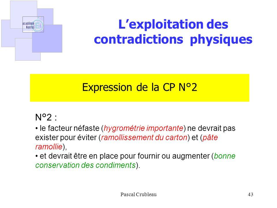 Pascal Crubleau43 Expression de la CP N°2 N°2 : le facteur néfaste (hygrométrie importante) ne devrait pas exister pour éviter (ramollissement du carton) et (pâte ramollie), et devrait être en place pour fournir ou augmenter (bonne conservation des condiments).