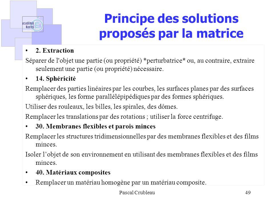 Principe des solutions proposés par la matrice 2. Extraction Séparer de l'objet une partie (ou propriété) *perturbatrice* ou, au contraire, extraire s