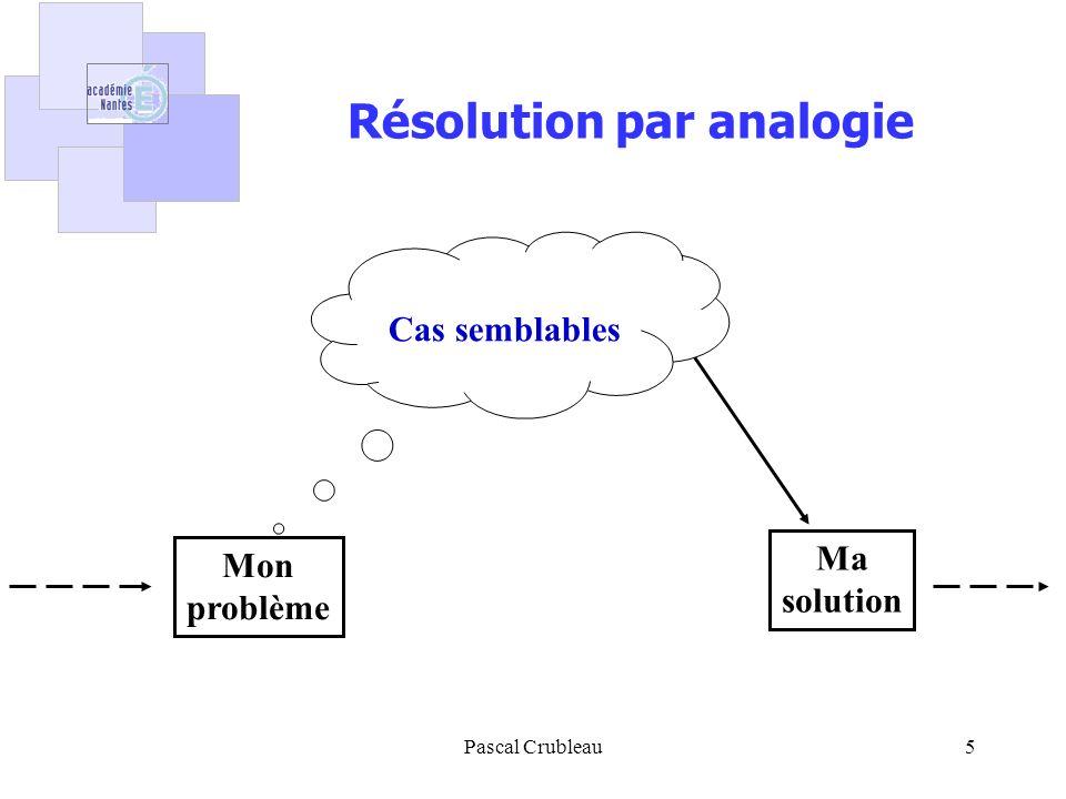 Pascal Crubleau5 Résolution par analogie Mon problème Ma solution Cas semblables