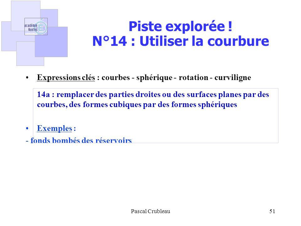 Pascal Crubleau51 Piste explorée ! N°14 : Utiliser la courbure Expressions clés : courbes - sphérique - rotation - curviligne 14a : remplacer des part