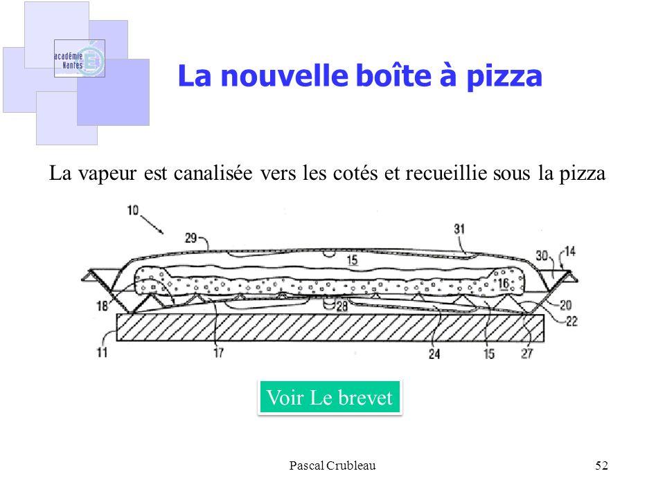 Pascal Crubleau52 La nouvelle boîte à pizza Voir Le brevet La vapeur est canalisée vers les cotés et recueillie sous la pizza
