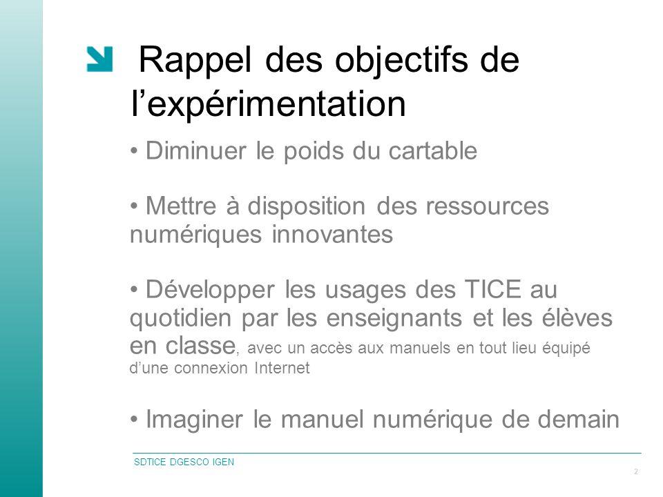 SDTICE DGESCO IGEN 2 Rappel des objectifs de lexpérimentation Diminuer le poids du cartable Mettre à disposition des ressources numériques innovantes