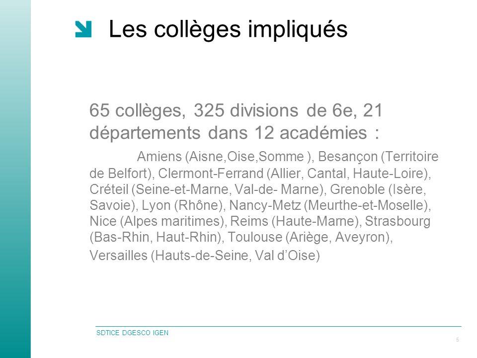 SDTICE DGESCO IGEN 5 Les collèges impliqués 65 collèges, 325 divisions de 6e, 21 départements dans 12 académies : Amiens (Aisne,Oise,Somme ), Besançon (Territoire de Belfort), Clermont-Ferrand (Allier, Cantal, Haute-Loire), Créteil (Seine-et-Marne, Val-de- Marne), Grenoble (Isère, Savoie), Lyon (Rhône), Nancy-Metz (Meurthe-et-Moselle), Nice (Alpes maritimes), Reims (Haute-Marne), Strasbourg (Bas-Rhin, Haut-Rhin), Toulouse (Ariège, Aveyron), Versailles (Hauts-de-Seine, Val dOise)