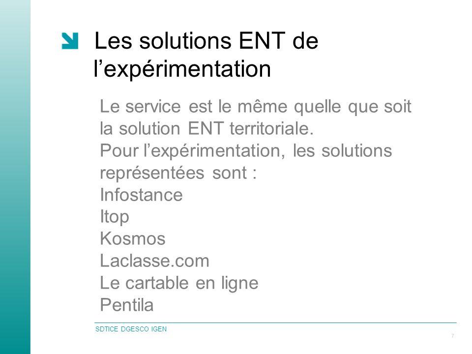 SDTICE DGESCO IGEN 7 Les solutions ENT de lexpérimentation Le service est le même quelle que soit la solution ENT territoriale.