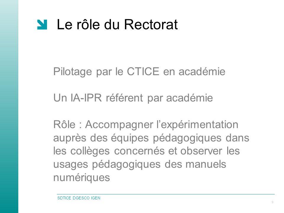 SDTICE DGESCO IGEN 9 Le rôle du Rectorat Pilotage par le CTICE en académie Un IA-IPR référent par académie Rôle : Accompagner lexpérimentation auprès des équipes pédagogiques dans les collèges concernés et observer les usages pédagogiques des manuels numériques