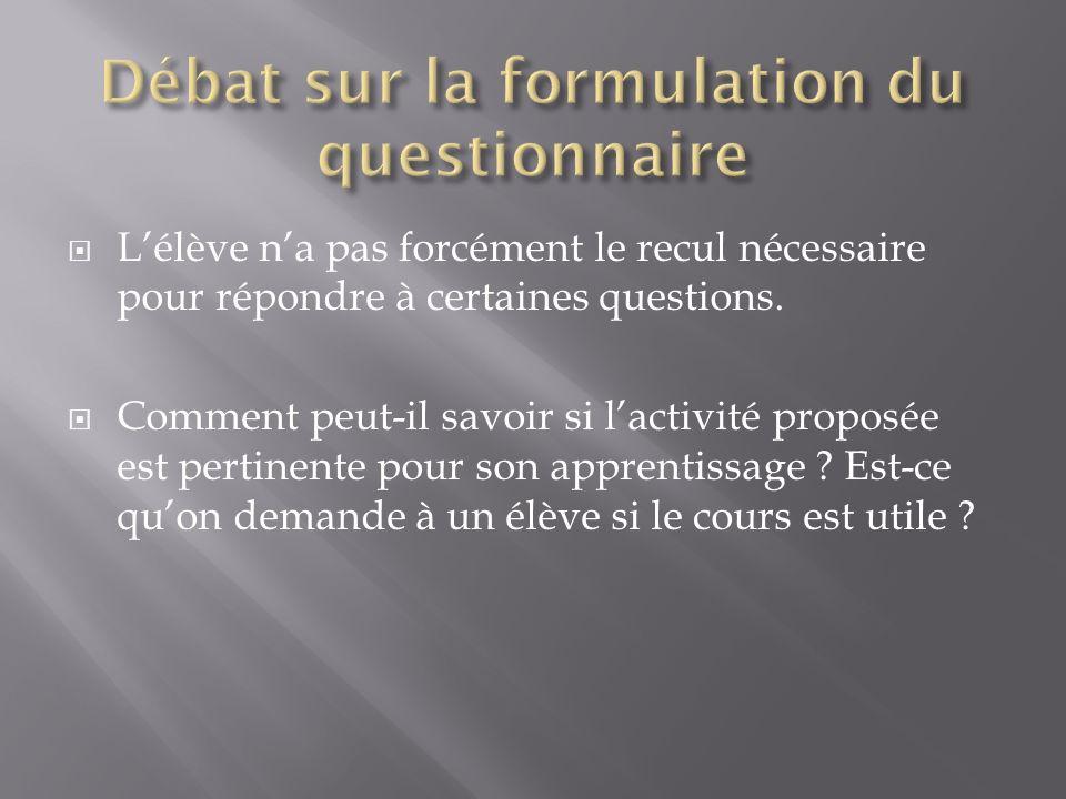 Nous avons exploités deux autres questionnaires (un en collège et un en lycée) Activités : Le modèle moléculaire : http://sciences-physiques.ac- dijon.fr/documents/Flash/pression/particules_gaz.htm: http://sciences-physiques.ac- dijon.fr/documents/Flash/pression/particules_gaz.htm Suivi cinétique : http://www.spc.ac-aix- marseille.fr/phy_chi/Menu/Activites_pedagogiques/livre_interactif_chimie/1 2_TPsuivi_cinetique_spectro/co/TPsuivi_cinetique_web.html: http://www.spc.ac-aix- marseille.fr/phy_chi/Menu/Activites_pedagogiques/livre_interactif_chimie/1 2_TPsuivi_cinetique_spectro/co/TPsuivi_cinetique_web.html On retrouve des pourcentages équivalents sur les grandes lignes.