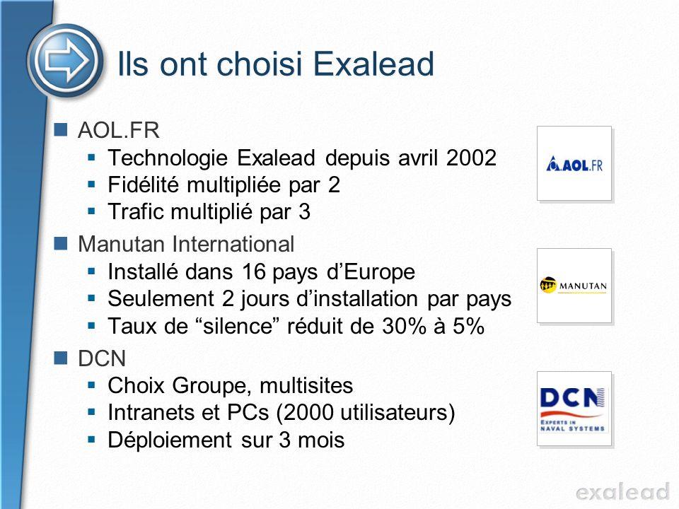 Ils ont choisi Exalead AOL.FR Technologie Exalead depuis avril 2002 Fidélité multipliée par 2 Trafic multiplié par 3 Manutan International Installé da