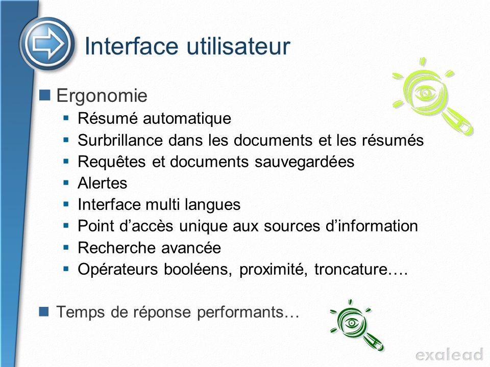 Interface utilisateur Ergonomie Résumé automatique Surbrillance dans les documents et les résumés Requêtes et documents sauvegardées Alertes Interface