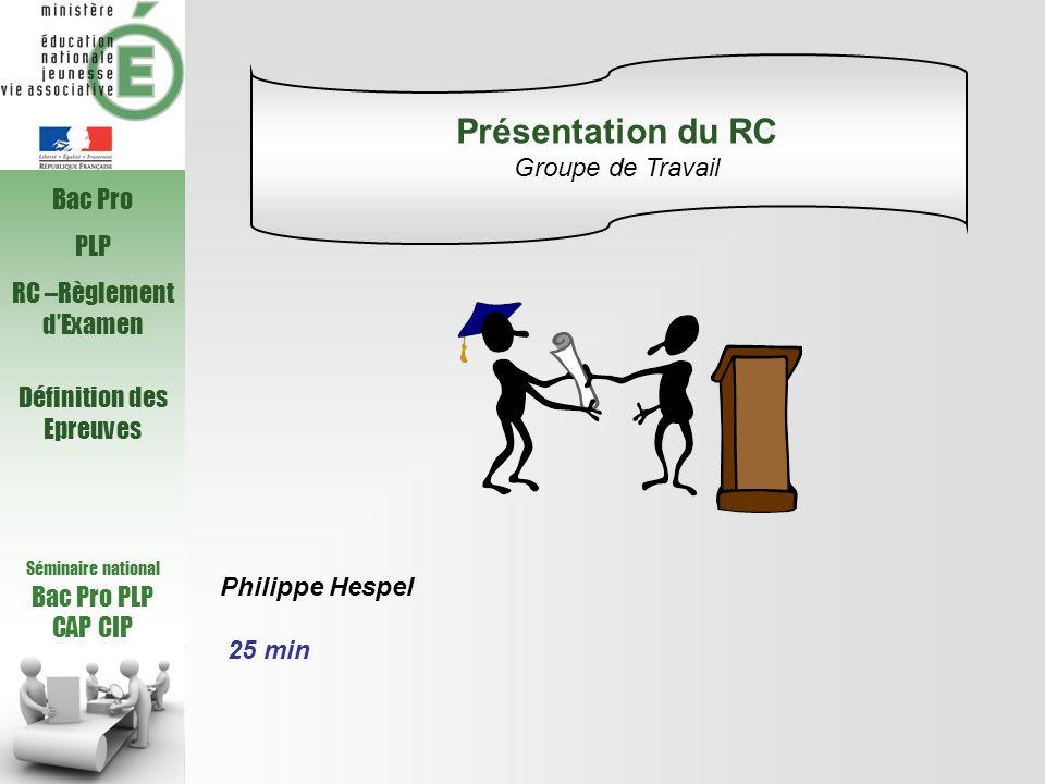 Séminaire national Bac Pro PLP CAP CIP Bac Pro PLP RC –Règlement dExamen Définition des Epreuves Philippe Hespel 25 min Présentation du RC Groupe de T