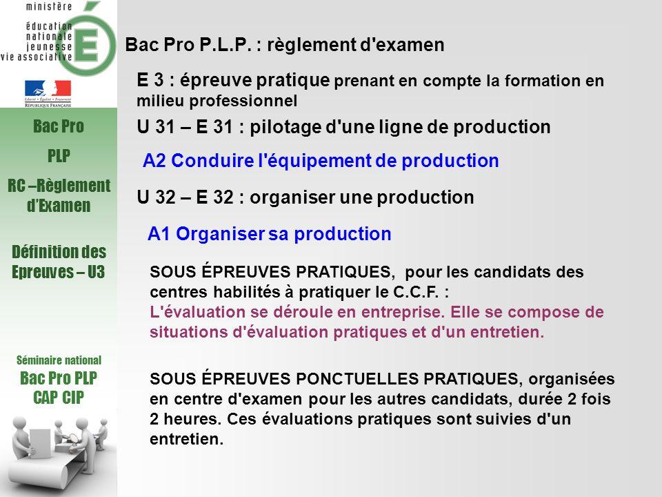 Bac Pro P.L.P. : règlement d'examen U 31 – E 31 : pilotage d'une ligne de production U 32 – E 32 : organiser une production A1 Organiser sa production